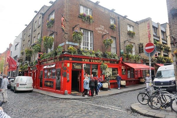 Outside Temple Bar in Dublin Ireland