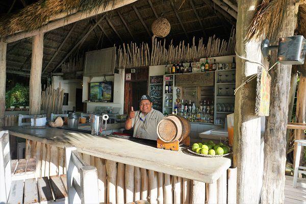 bartender at mayan chan beach