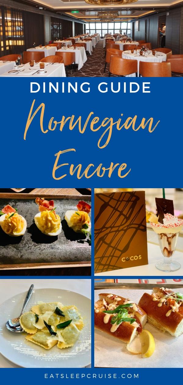 Norwegian Encore restaurant menus